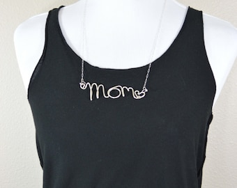 Sterling Silver Mom Necklace with hearts