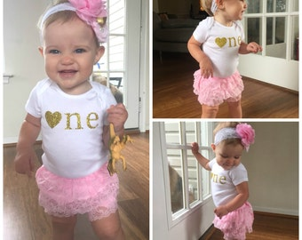 Pink and Gold First Birthday Outfit...First Birthday Girl Outfit...Baby Girl 1st Birthday Outfit...Gold Glitter Shirt...Pink and Gold Outfit