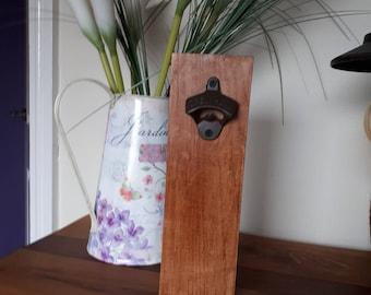wooden wall hung bottle opener