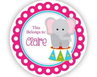 Name Tag Stickers - Pink Blue Carnival Circus Elephant Personalized Name Label Tag Stickers - 2 inch Round Tags - Back to School Name Labels