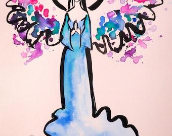 Praying Angel- Watercolor, Mixed Media, India Ink Angel Painting