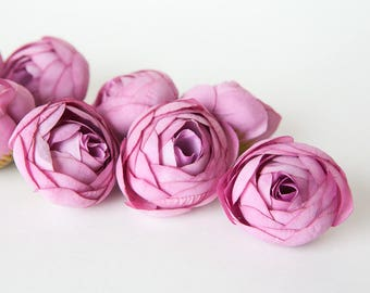 10 Small Ranunculus in Rose Pink - silk artificial flower - ITEM 01284