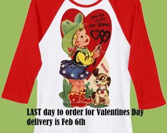 Cowgirl Valentine Shirt, Valentines Day shirt,Girls clothes, girls valentine,Baby bodysuit, Red Raglan shirt by ChiTownBoutique.etsy