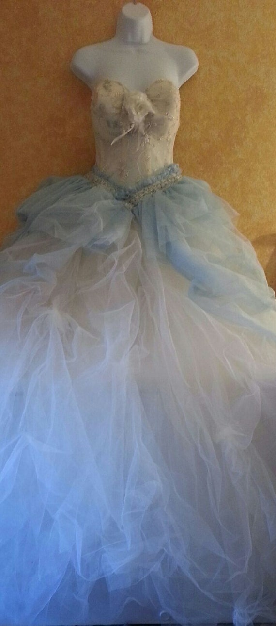 Corset Tulle Gown Party gown Sample listing Goddess Wedding Victorian Pickups Beaded Sheer Pearl With Ivory Embellished Skirt Rose Ball Blue 7wOHxwq8