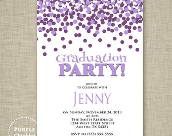 Purple Graduation Party Invitation Purple Confetti Fun Birthday Invite Purple Printable Party Invite JPEG file (11)
