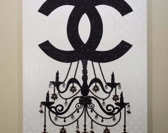 Crown Jewels: Chanel Chandelier II (24x30 = 2 ft x 2.5 ft) home decor, CC art, CC painting, Chanel Art, Chanel painting