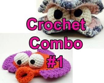 Crochet Combo Number One with Oyster Stu and Flappy Flounder Amigurumi Plush Toy Pattern Instant Download