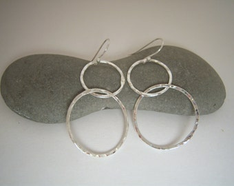 Hammered Fine Silver Double Cascading Large Hoop Earrings