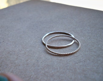 Set of 2 Contrasting 18g/ 1mm Thin Sterling Silver Stacking Rings - custom made to order - Ready to Ship