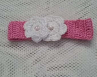 Pink Baby Headband With Flower