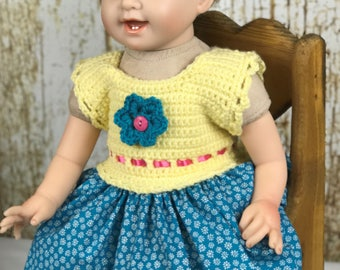"Baby Girl Doll Dress to fit 20"" to 22"" dolls. Turquoise and Yellow Crochet Dress"