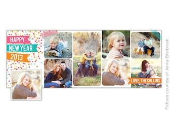 INSTANT DOWNLOAD - New Year Facebook timeline cover - Photoshop template - E645