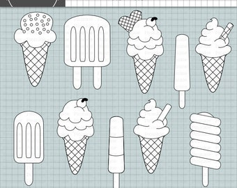 Ice Cream Digital Stamps, Summer Digi Stamps, Digital Graphics, Scrapbook Embellishment, Instant Download, Commercial Use