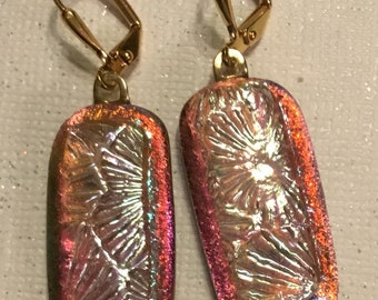 Dichroic Glass Earrings,Orange,Silver Dichroic,Gold Plated leverback earrings