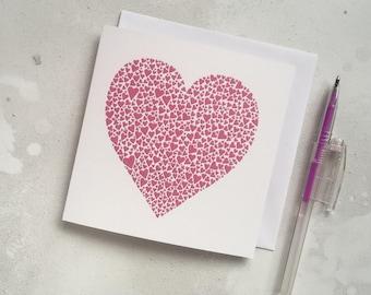 Bright pink hearts card – love card – fuchsia pink heart card – papercut art – wedding card – wedding card – engagement card – thankyou card