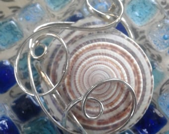 Wire Wrapped Natural Shell Pendant