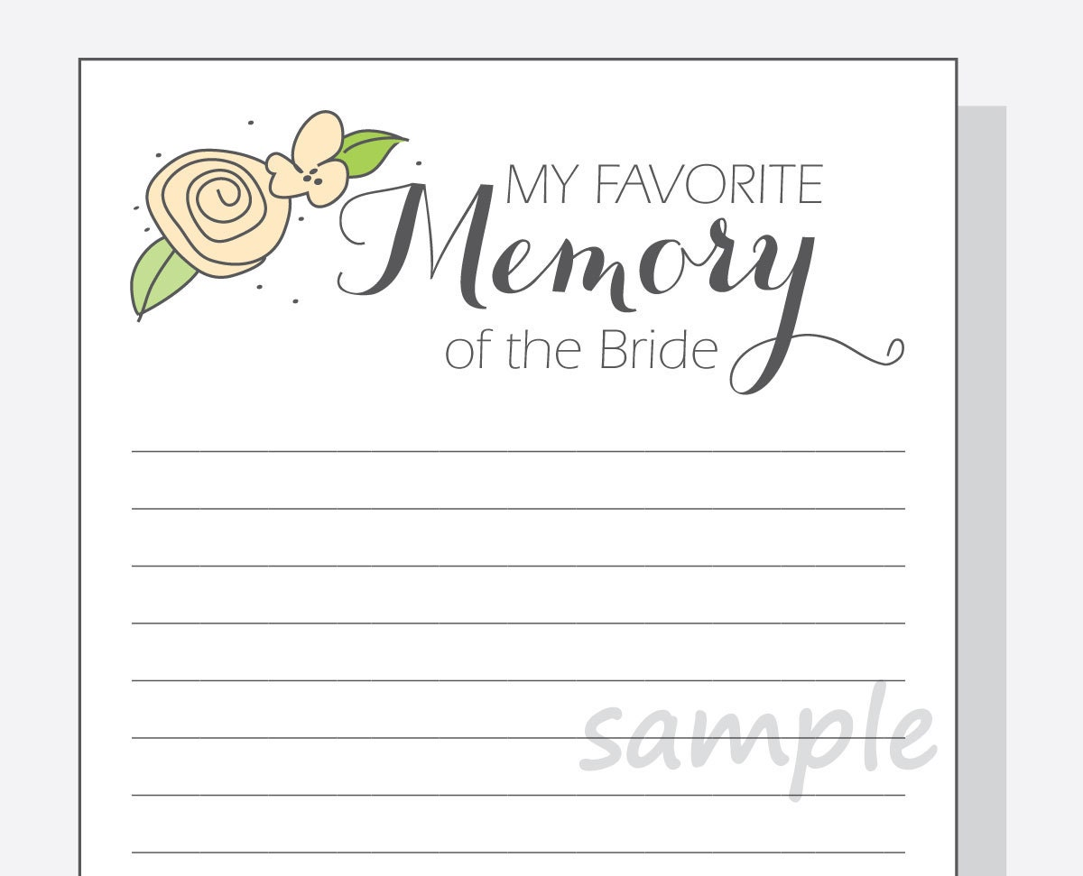 diy my favorite memory of the bride printable cards for a 🔎zoom