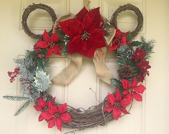 Christmas mickey bow wreath