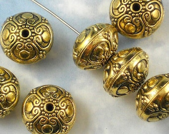 6 Large 16mm Gold Saucer Beads Hill Tribes Style Antiqued (P475)