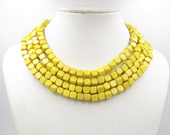 New Women Necklace,Multi Strand Necklace,Chunky Necklace,Yellow Necklace,Bridesmaid Necklace,Wedding Gift idears,Statement Necklace,Fashion