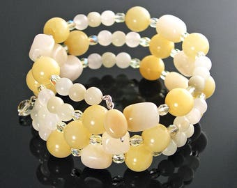 Pale Yellow Bracelet, Yellow Jade Onyx Bracelet, Multi Strand Yellow Beaded Bracelet Yellow Wrap Bracelet Memory Wire Yellow Stone Bracelet
