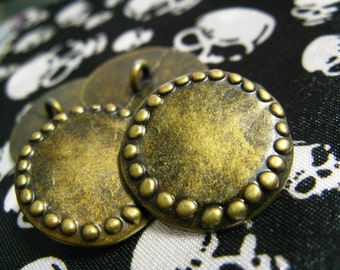 10 Stone Circle Metal Buttons , Antique Brass Color , Shank , 0.71 inch