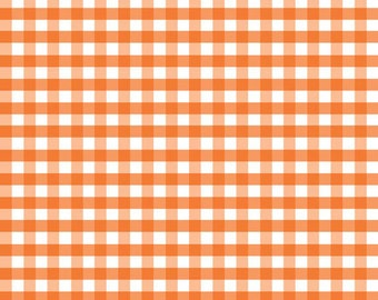 Orange Medium Check Fabric by Riley Blake