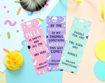 William Shakespeare Bookmark Set. Bookmarks. Shakespeare Bookmarks. Book Lover. Book Worm. As you Like It. Macbeth. Book Geek. Book Nerd.