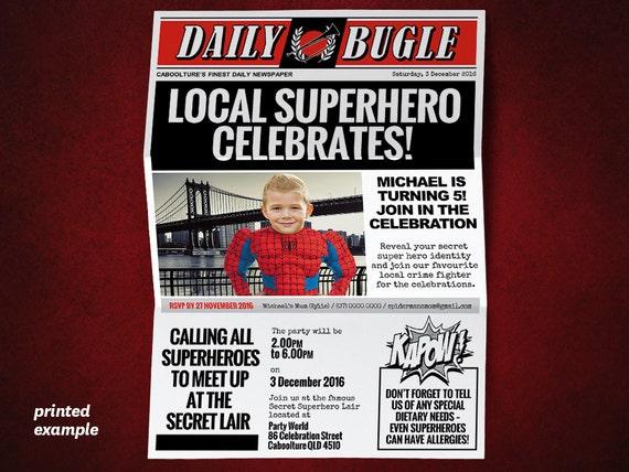Diy superhero newspaper invitation template for a spiderman stopboris Choice Image