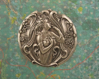 Alphonse Mucha Jewelry - Art Nouveau Jewelry - Mucha Poetry, Garden Nymph, Poesie - Jewelry Findings, Sterling Silver Pendant