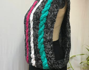 Vintage 80's cable knit dropped armhole sweater.