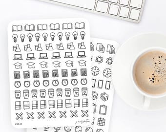 Study Stickers | Study Icon Stickers | Icon Stickers | Planner Stickers | Bullet Journal Stickers