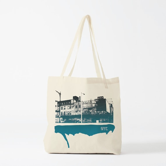 Street of NYC tote bag, photo, graphic canvas bag, gift for husband, gift for boyfriend, novelty gift for coworker, urban art, graffiti bag.