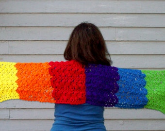 Women's Prayer Shawl, Rainbow Wrap, Gay Pride, Fashion Accessory
