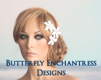 Bridal Accessories, Bridesmaid Hair Flowers, Beach Wedding - 3 Caribbean Plumeria Hair Pins - Ivory White Purple Blue Pink Red & Many Colors