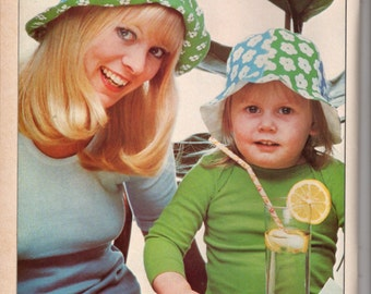 """Pattern-pattern """"Cloche hat for baby and MOM"""" / Vintage 70's"""