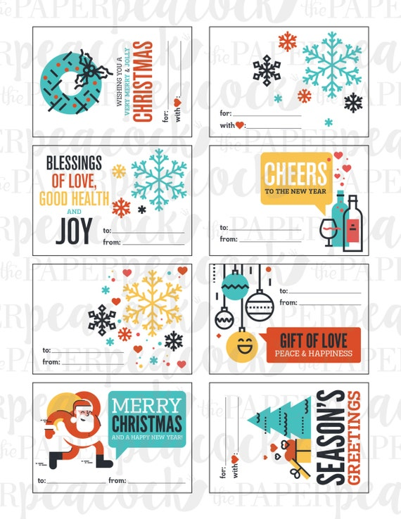 8 Christmas Gift Tags Instant Download Modern Quote Print