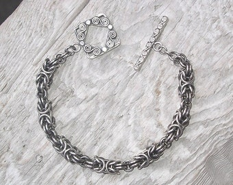Handmade sterling silver byzantine link chainmaille bracelet