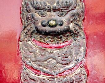 Asian Art Foo Dog, Chinoiserie Guardian Lion Print, Red Door Print, Red Grey Asian Wall Decor,Chinese Door Detail,Forbidden City Asian Decor