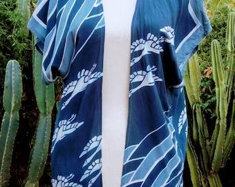 Vintage Japaneses crane cotton kimono top
