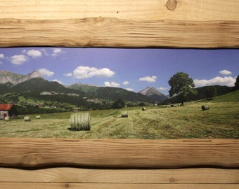 BRUSHED WOOD FRAME PICTURE MOUNTAIN SUMMER