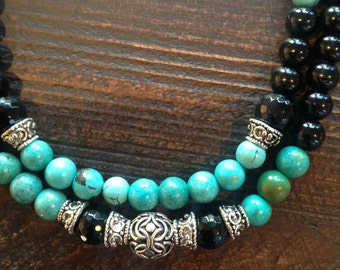 Black Swarovski pearls, high grade turquoise, silver beaded double strand necklace with matching earrings set