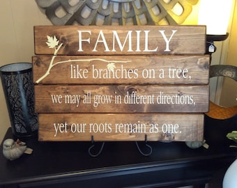 "Family, Custom  Wooden Wall Plaque, Home Decor, 16"" x 24"""