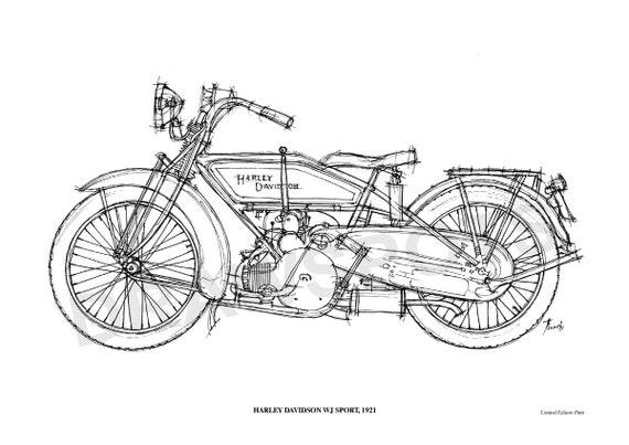 harley davidson wj sport 1921 original handmade drawing
