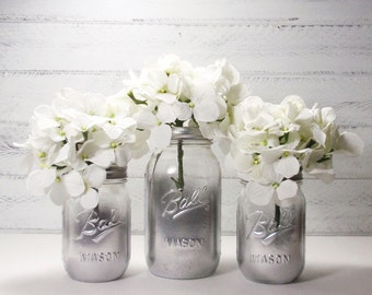 3 Clear Partial Metallic Painted Mason Jar Flower Vases-Country Decor-Cottage Chic-Shabby Chic-French Chic