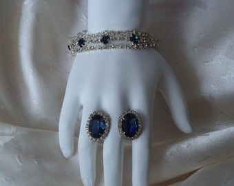 Vintage Clear Rhinestone and Shappire Bracelet with Matching Pierced Earrings