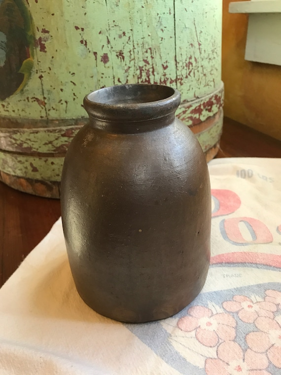 Small antique stoneware crock 6.5 Inches Farmhouse Kitchen Decor