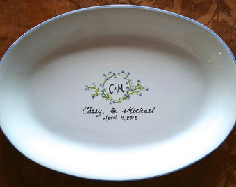 WEDDING GUEST BOOK alternative - Guest Book / guest book / signature plate / sign in platter / vine monogram