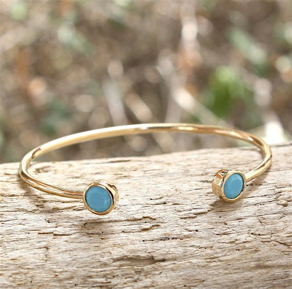 Bangle gold plated 750 thousandth and turquoise