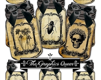 80% Off Spring Sale Vintage Halloween Mason Jar Labels Tags Digital Collage Goth Images Apothecary Jar Steampunk Images Instant Digital Down